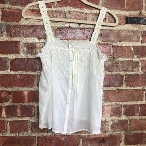 Madewell Lace & Eyelet Button Up Tank Blouse 0